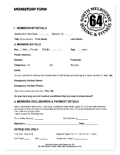 gym membership contracts Template – Gym Contract Template